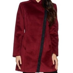 H by Halston Long Sleeve Coat with Faux Suede